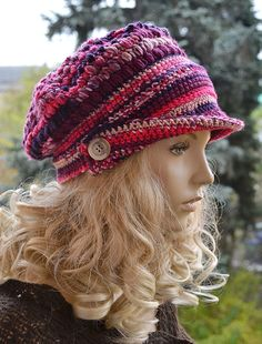 Crocheted  PEAKED CAP beanie Slouchy Winter Fashion by DosiakStyle