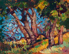 California oaks modern impressionist oil painting by Erin Hanson