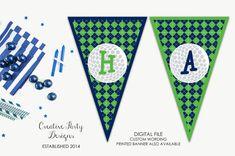 Golf Banner - Golf Birthday Party - Golf Themed Baby Shower - Daddy's Little Caddy - Golf Theme Printable Banner - Boy - Golf Themed