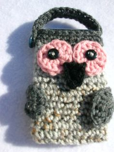 Gray Owl Pouch for cell phone or camera