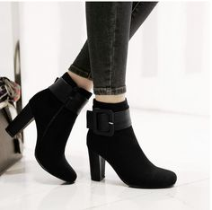 Women Shoes Ankle Short Boots Vintage Buckle Rough Matte Female Sexy Elegant High-heeled Boots