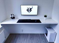 Amazing clean, white and minimalistic setup! Computer Desk Setup, Gaming Room Setup, Pc Desk, Pc Setup, White Desk Gaming Setup, Computer Desk Organization, Home Office Setup, Home Office Design, House Design