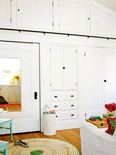 Like this idea for built in storage instead of yet another closet.  Is that a ladder rail I see near the top?! :)