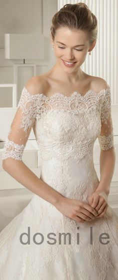 2015 Summer/Spring Off the Shoulder Wedding Jacket Half Sleeves French Lace Appliques bolero White/Ivory Shawl Bridal Wrap Shrug-in Wedding Jackets / Wrap from Weddings & Events on Aliexpress.com | Alibaba Group