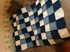 My crochet blanket- love the design! Maybe I'll use this design when I make a crocheted blanket for my hubby.