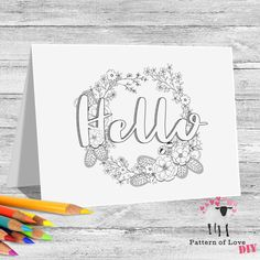 Hello Coloring Printable Note Cards | Etsy Jw Gifts, Letter Size, Note Cards, Card Stock, Coloring, Printables, Notes, Lettering, Paper