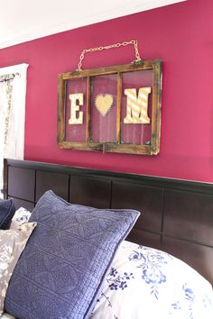 A fun piece of art - an antique window with your initials monogrammed.  <3 it!