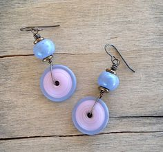 Lavender Blue Ceramic and Lampwork Beads Brass by MarthaDzJewelry