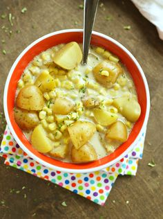 Crockpot Corn and Potato Chowder. This was amazing. Used half and half instead of heavy cream and added a few other veggies and it was still amazing.