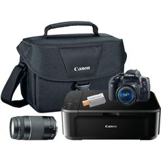 EOS Rebel Camera with Lens, Shoulder Bag, All-in-One Printer, microSD Card and Photo Suite Deluxe. Best Digital Camera, Digital Cameras, Canon Eos Rebel T6i, Laser Printer, Slr Camera, All In One, Shoulder Bag, Bags