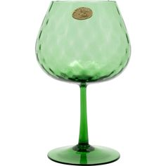 This beautiful brandy snifter shaped pedestal vase is a wonderful emerald green in colour and was produced in Italy probably by Empoli. The vase has a