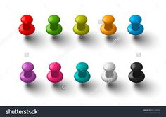 Office vector push pins set made of shiny colorful plastic, eps10 clipart elements