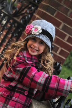 Girls Crochet  Cloche Beanie Winter Hat - Black Grey Pink - Baby Toddler Children Sizes Available - Great for Back to School. $24.00, via Etsy.