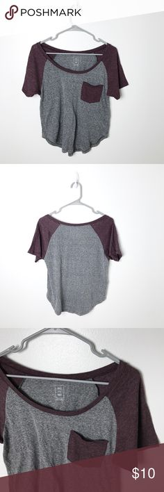 Cropped High Low Maroon and Gray Tshirt This cropped tee is light and soft. Worn only a few times and purchased from PacSun Tops Crop Tops