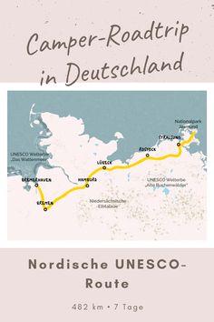 """Roadtrip Nordische UNESCO-Route - Dein Roadtrip führt dich von einem UNESCO-Weltkulturerbe zum anderen: Das einzigartige Wattenmeer bietet Lebensraum für 10.000 Tier- und Pflanzenarten und lädt zu Kutschfahrten, Wattwanderungen und Bootstouren ein. Der Nationalpark Jassmund auf Rügen gehört zu den geschützten """"Alten Buchenwäldern"""", die sich bis nach Sassnitz erstrecken. Camper, Roadtrip, Tier, Map, Rostock, National Forest, Germany, Truck Camper, Travel Trailers"""