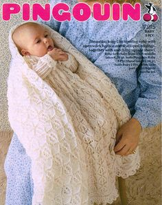 Pingouin 7915 baby christening dress and shawl vintage knitting pattern 3 ply wool 3 - 6 months size shawl measures square when completed Vintage Crochet Patterns, Vintage Knitting, Baby Knitting Patterns, Baby Patterns, Lace Knitting, Knitting Needles, Crochet Ideas, Baby Shawl, Blanket Shawl
