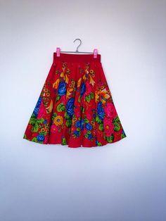 Red Gipsy Skirt Russian skirt Russian Flower Gipsy Skirt Folk Red flower skirt Russian print flower skirt