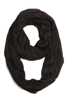 Plum Feathers Light Weight Silky Scrunch Solid Infinity Loop Silk Cotton Scarf (Black)