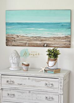 Capri Ocean beach painting made-to-order by aimeeweaver on Etsy Beach Cottage Style, Coastal Cottage, Coastal Style, Beach House Decor, Coastal Decor, Beach Condo, Wood Artwork, Beach Artwork, Painting On Wood