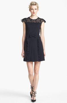 Mini Black Wedding Dress Valentino Lace Neckline Jersey Dress (size XL)  #REDValentino #Cocktail