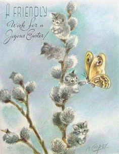 Vintage Cat, Vintage Easter, Kitten Tattoo, Art Carte, Cat Quilt, Cat Cards, Vintage Greeting Cards, Cat Drawing, Illustrations