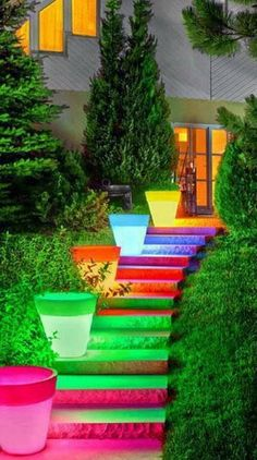 rainbow walk- would be cool walkway for night wedding