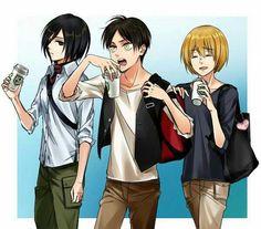 Mikasa, Eren, Armin, casual clothes; Attack on Titan