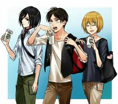 Mikasa, Eren, Armin, casual clothes; Attack on Titan