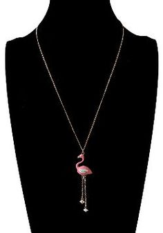 Trendy Pink Flamingo Enamel Pendant Necklace #flamingos #pinkflamingos #flamingofashion #necklace #jewelry #womensfashion #trendy