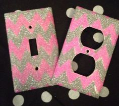 Glittered Pink & Silver Chevron Outlet/Light Switch Set - or use fabric decoupaged onto switch plate cover