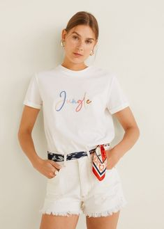 MANGO presents you its new collection. Have a look at our online catalogue and discover the latest fashion trends surfing along the jeans, T-shirts and . Design T Shirt, Shirt Designs, Sweat Shirt, T Shirt Message, Buy T Shirts Online, Vetements T Shirt, Funny Tee Shirts, Mango Fashion, Short Tops