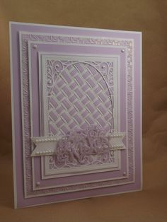 John Next Door: Twisted Lilac. Tattered Lace Cards, Paper Weaving, Spellbinders Cards, Card Companies, Shabby, Embossed Cards, Homemade Cards, I Card, Making Ideas