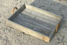 Rustic Wood Serving Trays Beach Decor Distressed Wood Beverage Tray Rope Handle by SweetiesAttic on Etsy