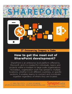 SharePoint is an enterprise level platform offered by Microsoft, and it is created for individuals, teams and projects within a medium to large scale organizations. Nowadays, organization work has spread to multiple locations, whether it is in different countries, or specific sections. It enables teams to connect and coordinate together regardless of where they are located.