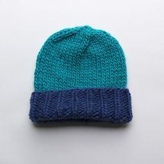 Wool Beanie > Blue + Turquoise