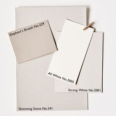 Contemporary Neutral paint colors from Farrow&Ball.  Elephant's Breath No. 229, All White No. 2005, Strong White No. 2001, Skimming Stone No. 241.  Neutral White paint Colors.