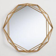 Round Gold Geometric Wall Mirror by World Market - Mirror - Geometric Decor Tall Wall Mirrors, Living Room Mirrors, Mirror Wall Art, Gold Mirrors, Wall Mirror Ideas, Large Mirrors, Modern Wall Mirrors, Bedroom Wall Mirrors, Large Round Wall Mirror
