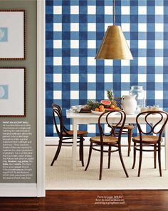 #Gingham dining room wall <3