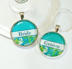 Fun bride & groom wine charms, $7.50