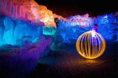 Magical Fire and Ice Castle-10 Utah, Mazes For Kids, Fantasy Background, Ice Castles, Bright Pictures, Fire And Ice, Landscape Photos, Amazing Art, Concept Art