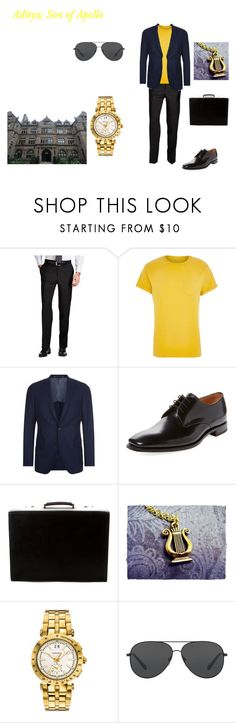 """""""Son of Apollo"""" by camsgirl8 ❤ liked on Polyvore featuring River Island, BOSS Hugo Boss, Loake, Prada, Versace, Michael Kors, men's fashion and menswear"""