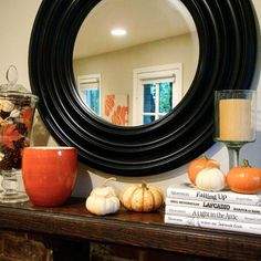 Awesome 40 Thanksgiving Mantelpiece Décor Ideas : 40 Thanksgiving Mantelpiece Décor With White Wall Big Circle Mirror Wooden Table Candle Pu...