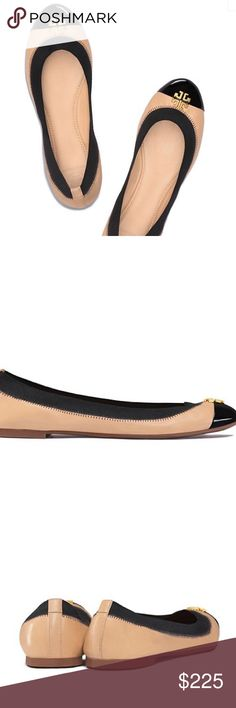 NWT Tory Burch two tone ballet flats size 9 Brand new in box, come with dust bag as well. DESCRIPTION A timelessly elegant choice for round-the-clock wear, the Jolie Ballet Flat is made of smooth beige leather, contrasted with a black glossy patent cap-toe. It features an elasticized collar for a slipper-like fit and a gold double-T logo, adding to its mix of matte and shine. Light cushioning and a flexible rubber sole ensure it's both practical and chic. Tory Burch Shoes Flats & Loafers