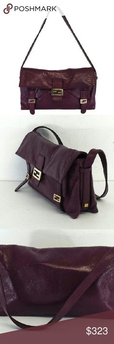 "Fendi- Plum Leather Handbag Plum Leather Handbag Made in Italy 1 outer pocket w/front flap and snap button closure 1 inner open pocket Front flap w/snap button closure Gold-tone hardware Very light wear on bottom edges Height 5.75"" Width 9.75"" Depth 2.5"" Strap drop 7"" Fendi Bags"