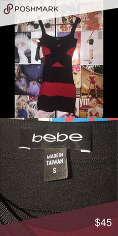 Bebe red and black bodycon dress Sexy bodycon dress.  Stretchy material that hugs your curves. bebe Dresses Mini