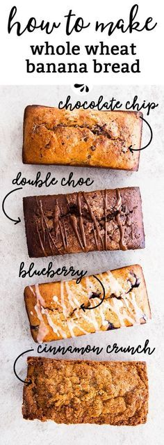 4 ways to make whole wheat banana bread from one recipe! It's so easy to make with whole wheat flour, Greek yogurt, eggs and milk.