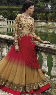 Invigorating Resham Work Designer And Party Gown  True beauty can come out of your dressing style and design with this red and beige net designer gown. The embroidered and resham work seems chic and great for any occasion.