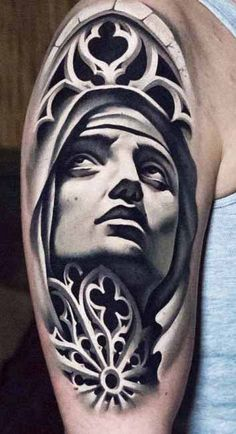 Virgin Mary is the symbol of purity and motherly affection. Check our collection of 75 Virgin Mary tattoos for your next ink. Angel Tattoo Designs, Tattoo Sleeve Designs, Sleeve Tattoos, Christ Tattoo, Jesus Tattoo, Face Tattoos, Cover Up Tattoos, Realistic Tattoo Sleeve, Mangas Tattoo