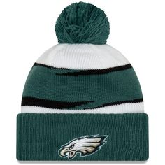 f5d4e7828 Men s Philadelphia Eagles New Era White Midnight Green Thanksgiving Cuffed Pom  Knit Hat