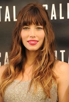 "Long hair: Jessica Biel Biel's waves are done with a medium-barrel curling iron, then finger-combed through to create a messy separation. But it's clearly her blanket of bangs that define this look. ""Anyone can rock these bangs across the forehead,"" says Palacios. ""Just keep them soft, hitting at the top of the eyebrows and rounded around the edges."""
